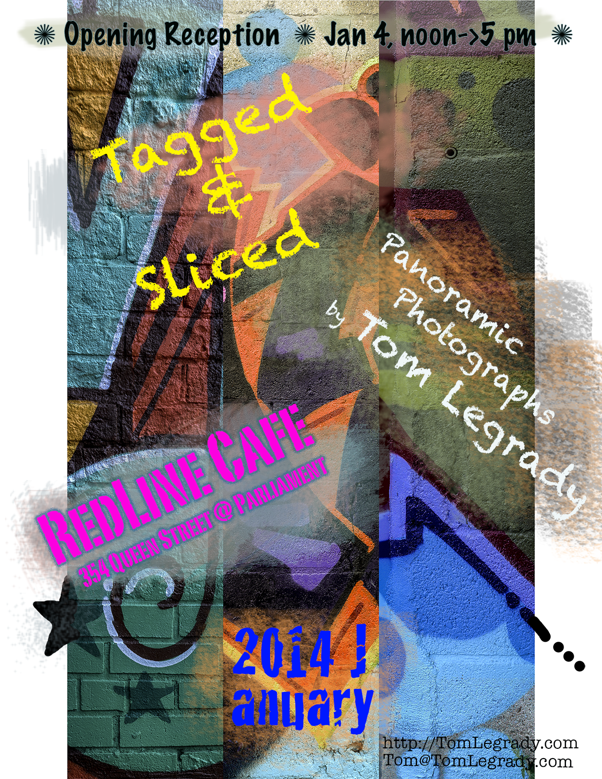 Invitation postcard for 'Tagged & Sliced' show